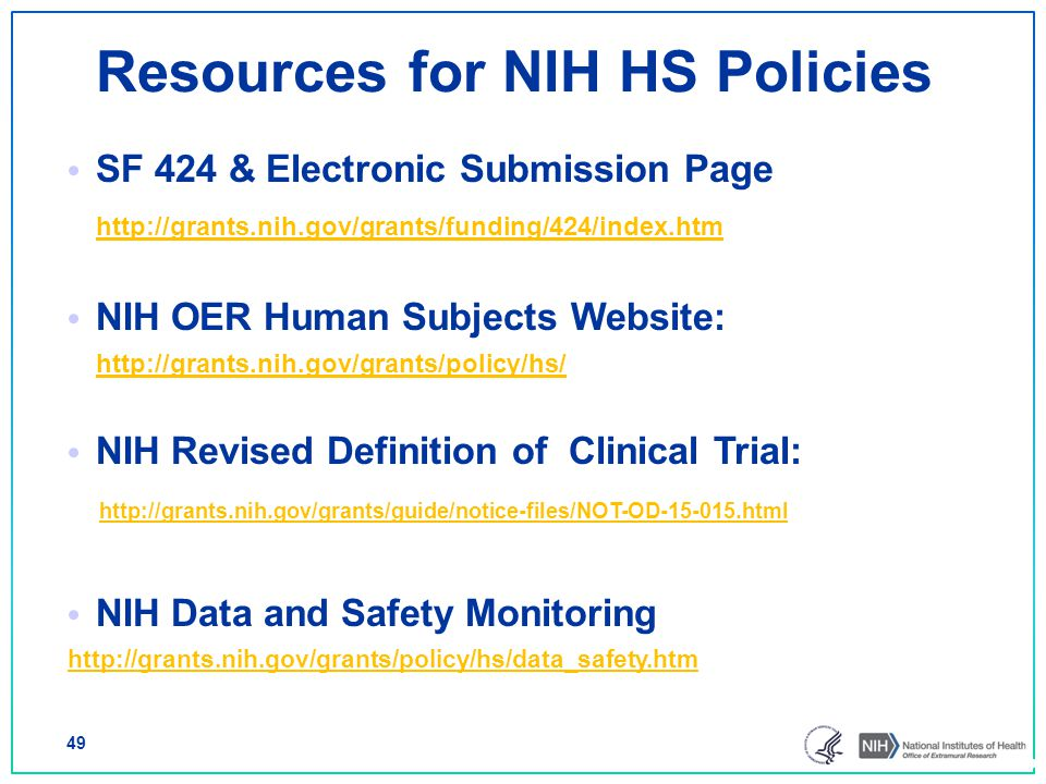 Resources for NIH HS Policies