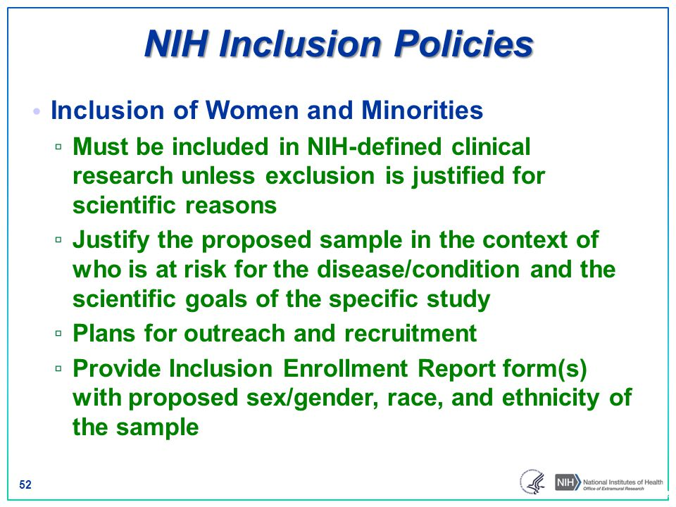 NIH Inclusion Policies