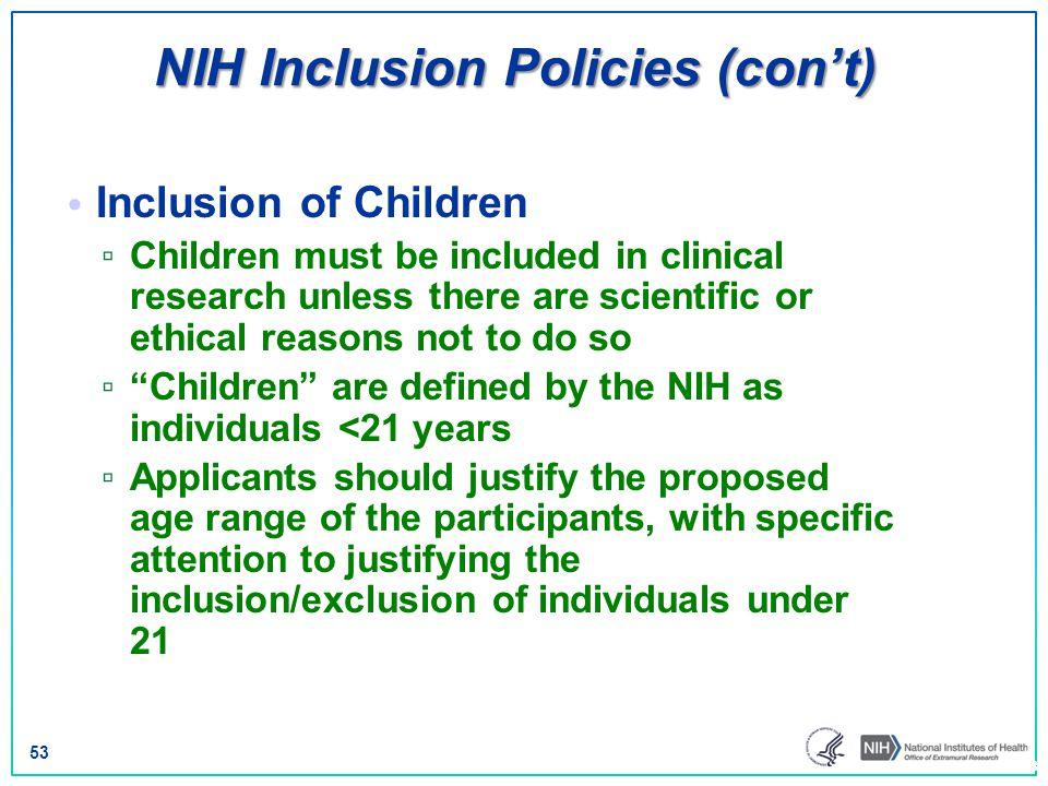 NIH Inclusion Policies (con't)