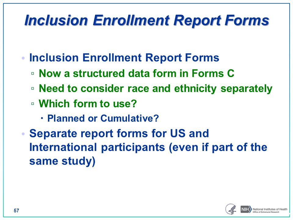 Inclusion Enrollment Report Forms