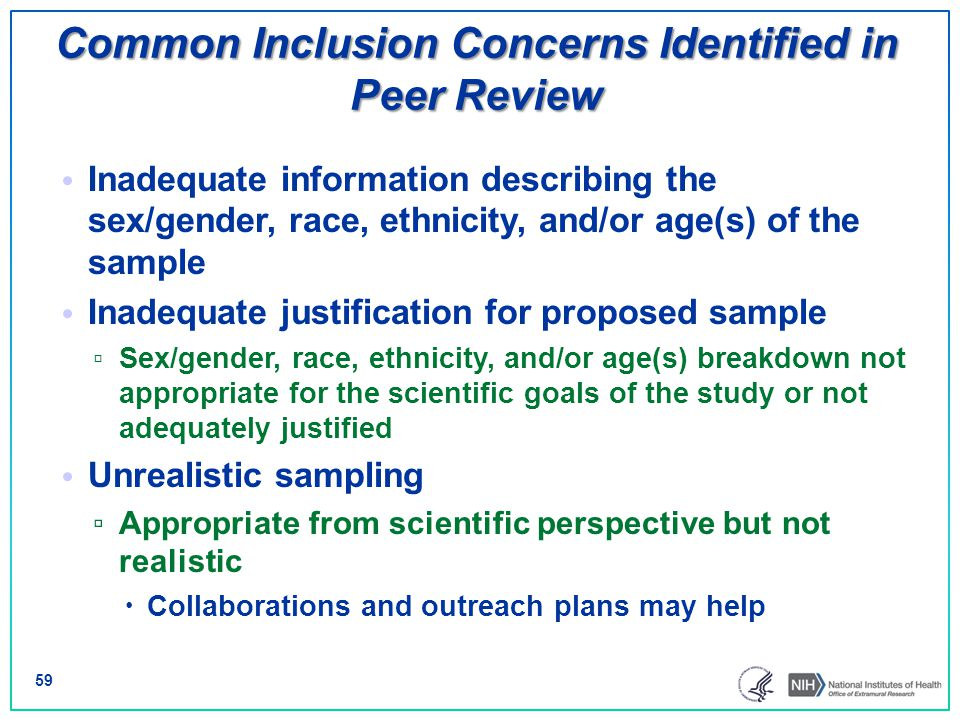 Common Inclusion Concerns Identified in Peer Review