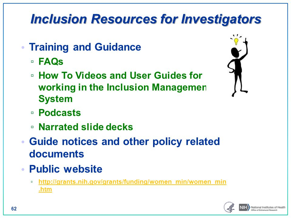 Inclusion Resources for Investigators