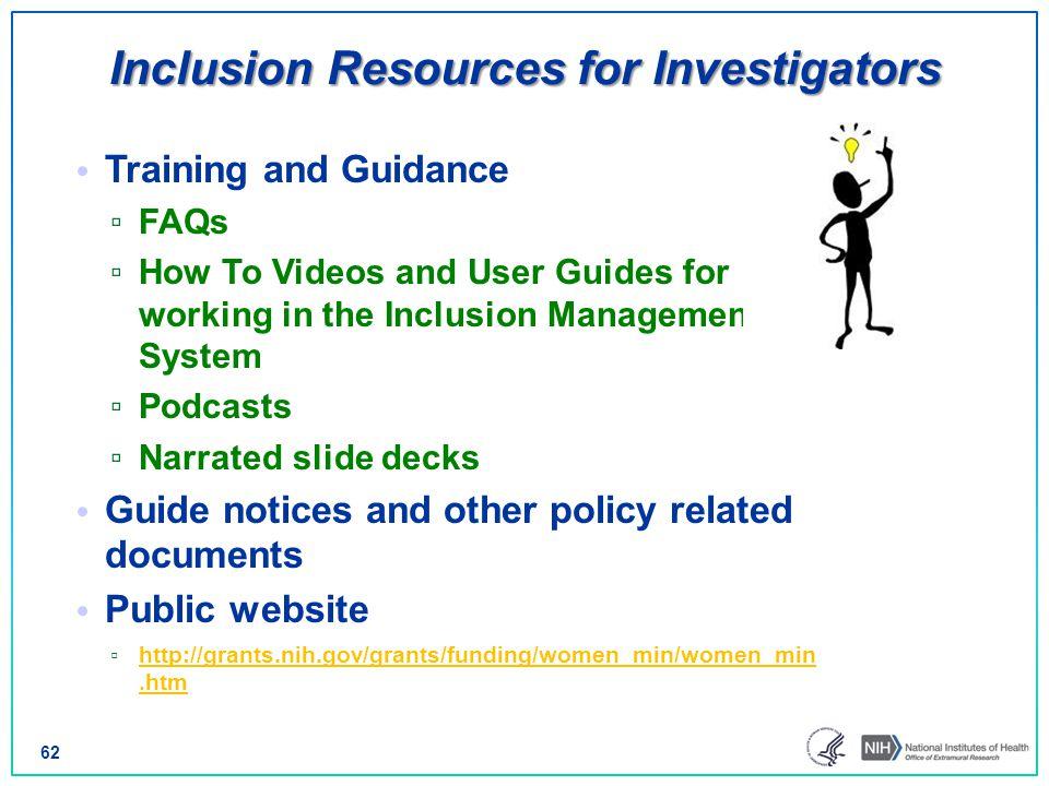 Inclusion Resources for Investigators