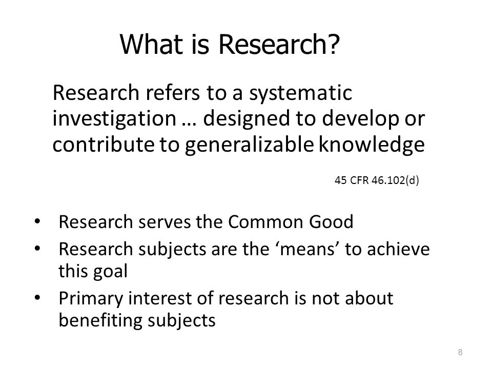 What is Research 45 CFR 46.102(d)