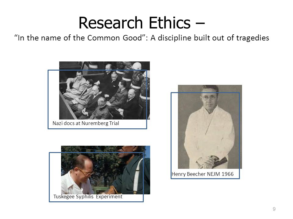 Research Ethics – In the name of the Common Good : A discipline built out of tragedies