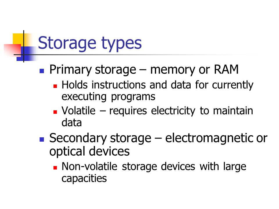 types of storage devices information technology essay Types of storage devices  two main categories of storage technology used today are magnetic storage and  the size and type of disk, but can range from 4à 64 .