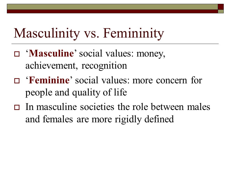 """overcoming the differences between masculinity and femininity The masculinity and femininity dimension describes how cultures differentiate on not between gender roles masculinity versus femininity """" speak."""