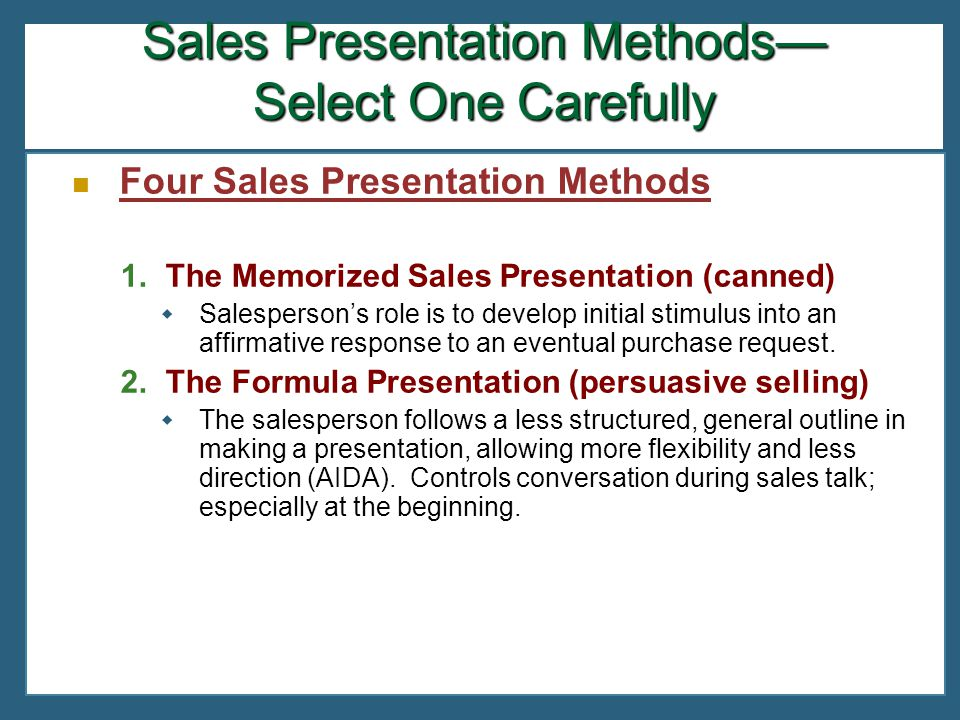 four sales presentation methods