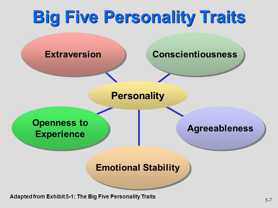 5 personality traits Trait theories of personality imply personality  adorno argued that deep-seated personality traits predisposed some individuals to be highly sensitive to.