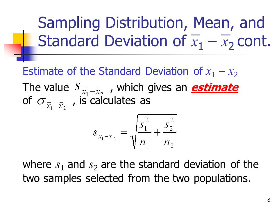 Estimation and hypothesis testing two populations ppt download sampling distribution mean and standard deviation of x1 x2 cont ccuart Images