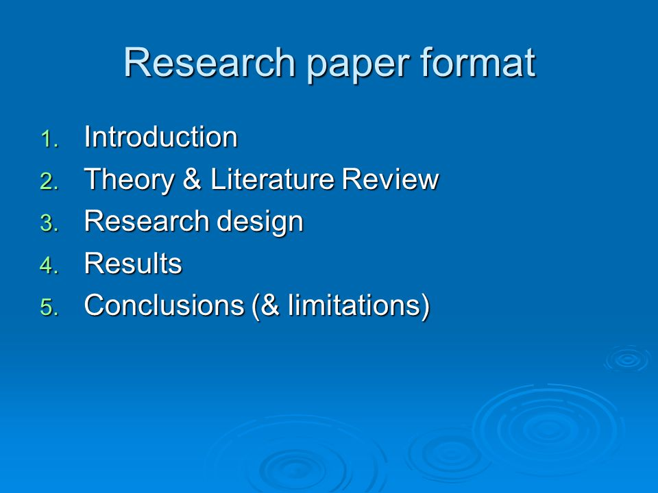 Research Paper Format Introduction Theory  Literature Review
