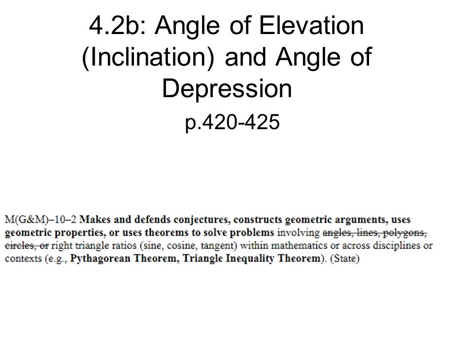 42b Angle Of Elevation Inclination And Angle Of Depression Ppt