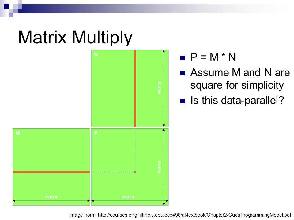 Matrix Multiply P = M * N Assume M and N are square for simplicity