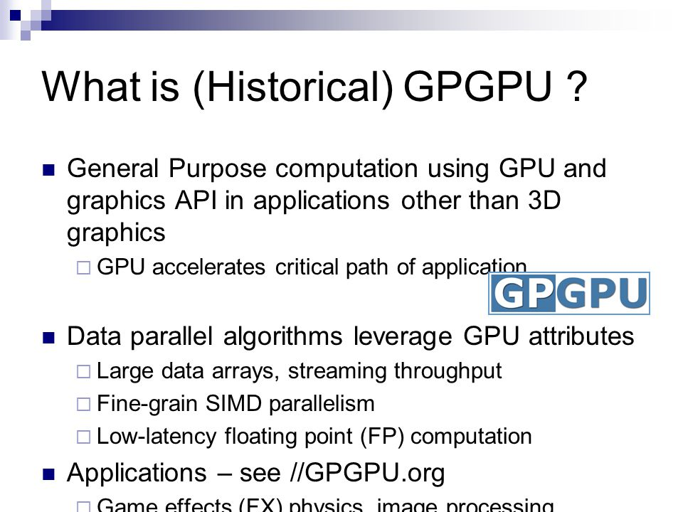 What is (Historical) GPGPU