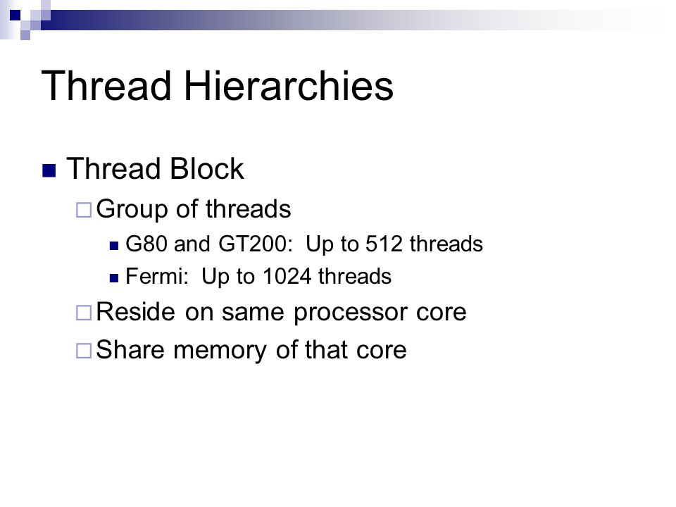 Thread Hierarchies Thread Block Group of threads