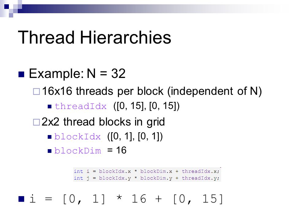 Thread Hierarchies Example: N = 32 i = [0, 1] * 16 + [0, 15]