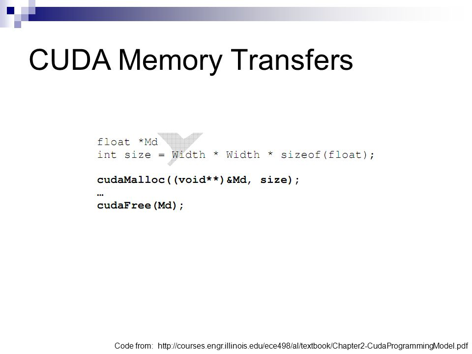 CUDA Memory Transfers Code from: