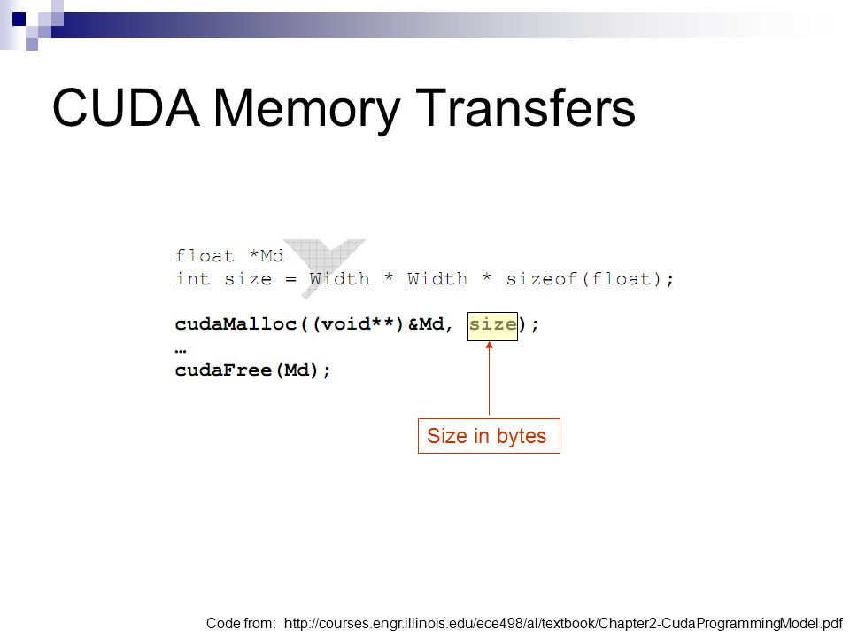 CUDA Memory Transfers Size in bytes