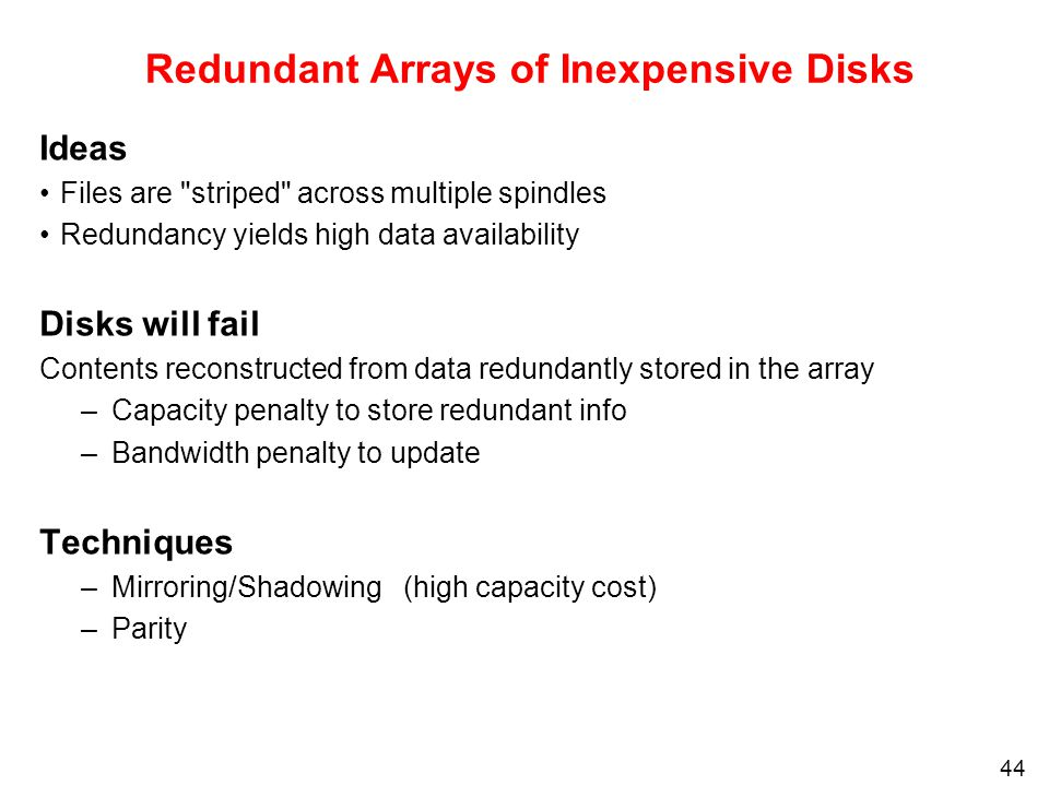 redundant arrays of inexpensive disks raid analysis Analyze the reliability dynamics of ssd raid arrays subject to different parity  distributions, error rates, and  raid (redundant array of independent disks) [32.