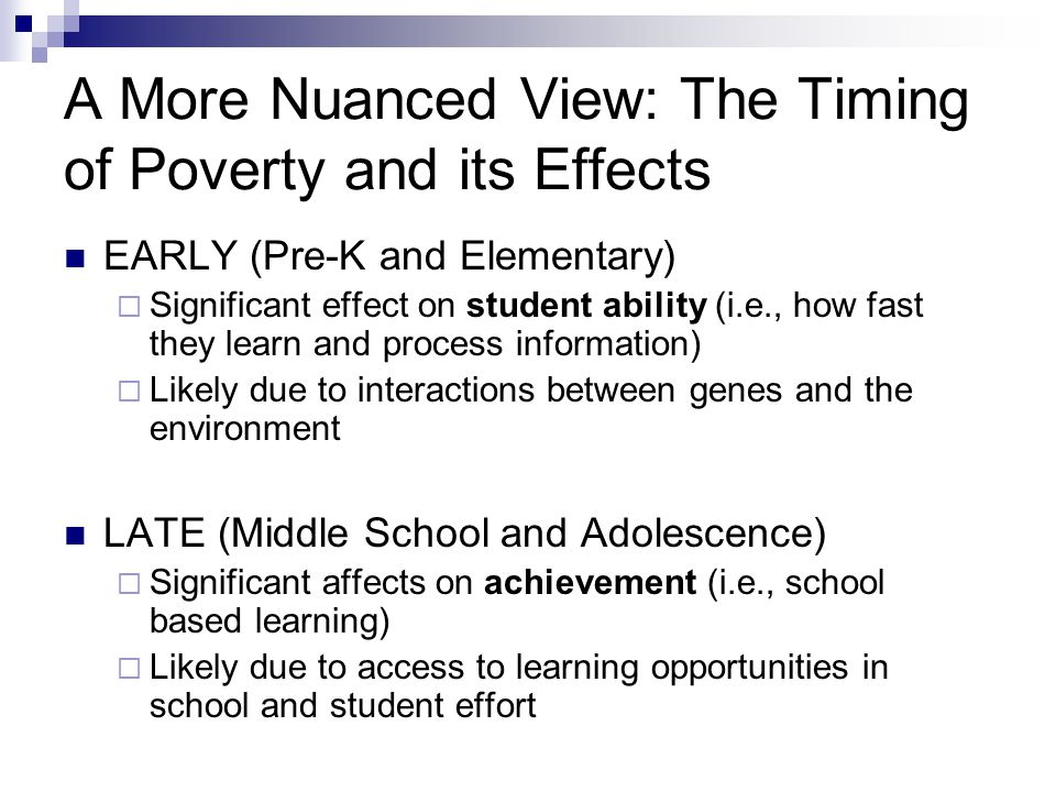 Chapter How Poverty Affects Behavior and Academic Performance