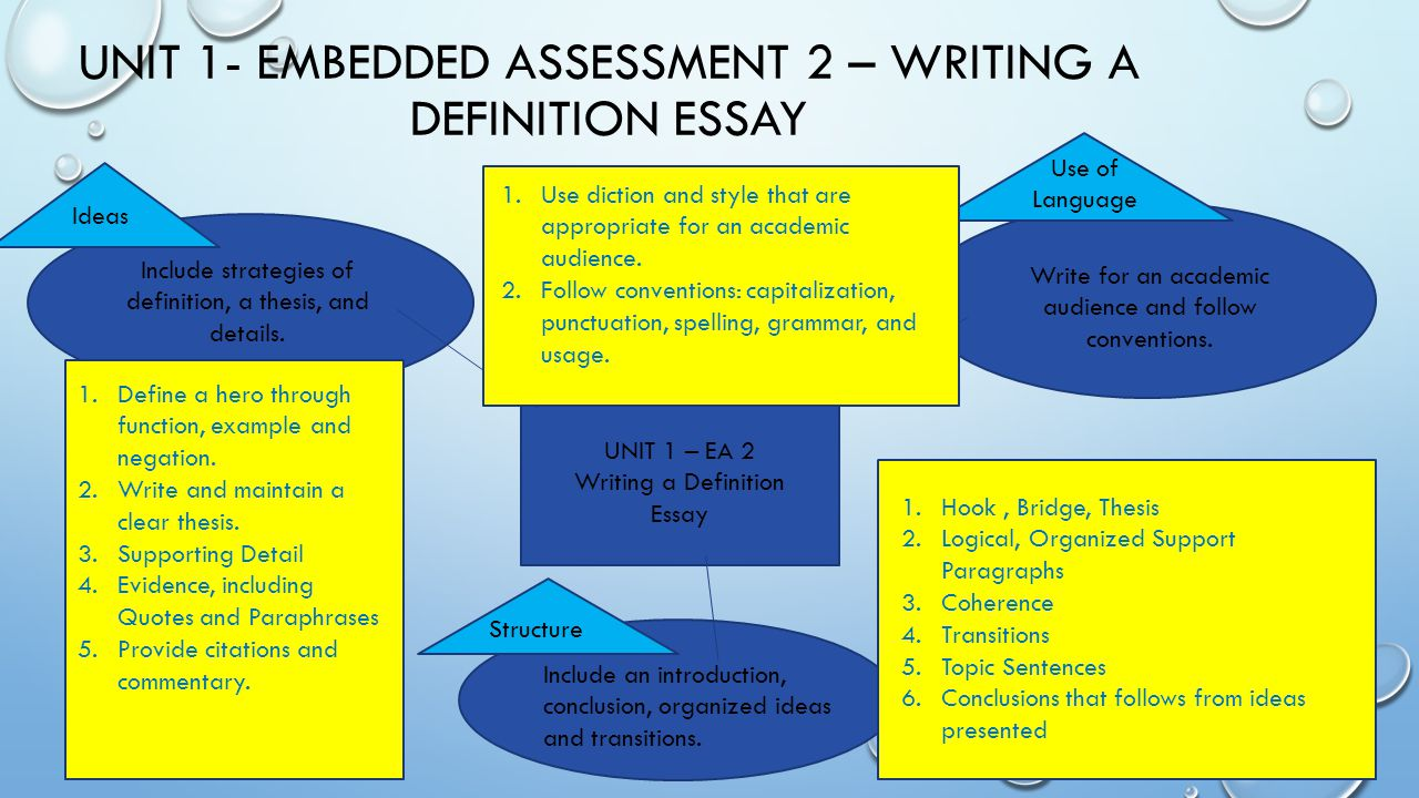 embedded assessment unpacking ppt video online  unit 1 embedded assessment 2 writing a definition essay