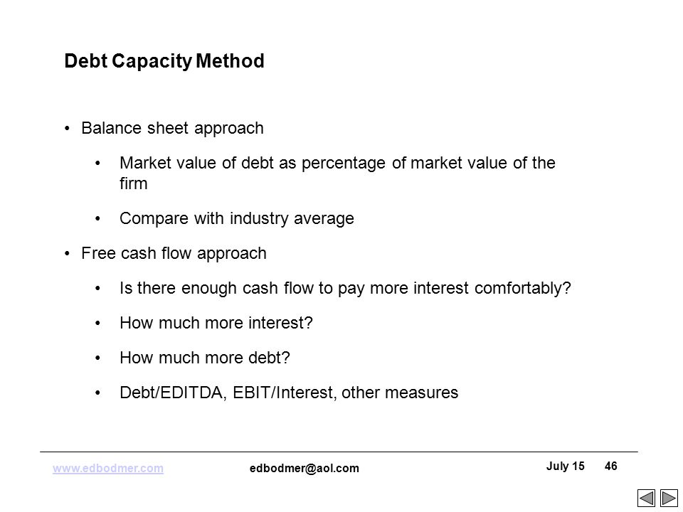 debt capacity The debt capacity calculator is super handy for getting a fast and rough overview to organise deal opportunities this was made so that you can get a rough view of a company's debt capacity with only a couple of estimations in a short amount of time.