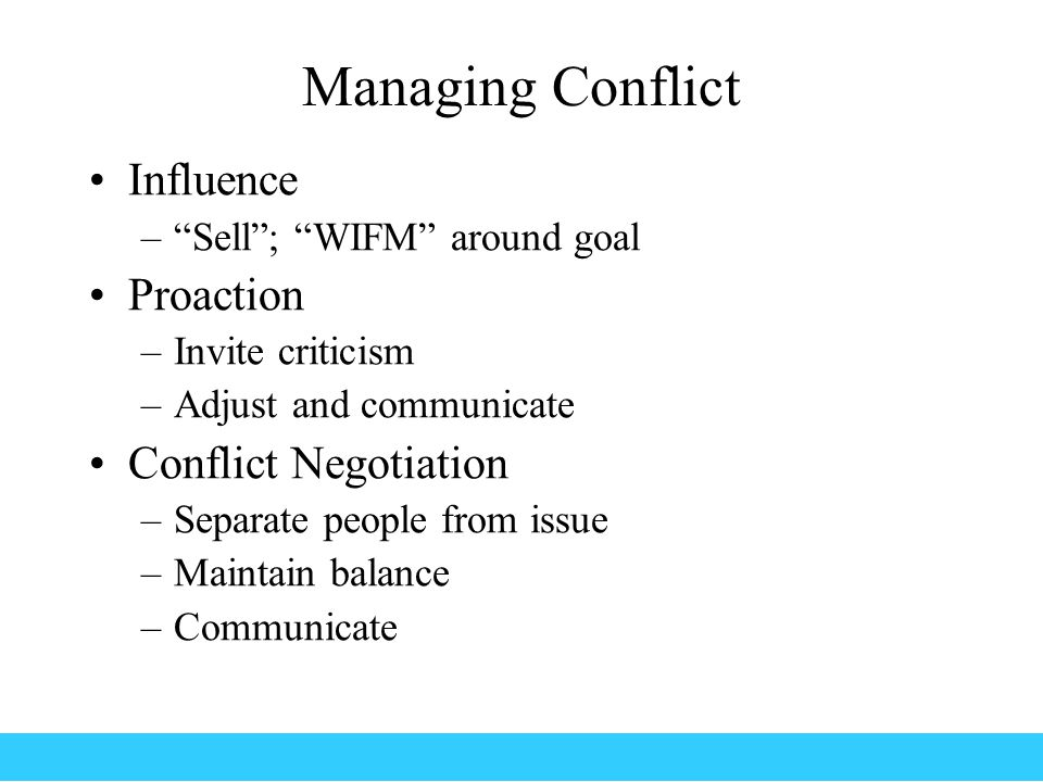 Managing Conflict Influence Proaction Conflict Negotiation