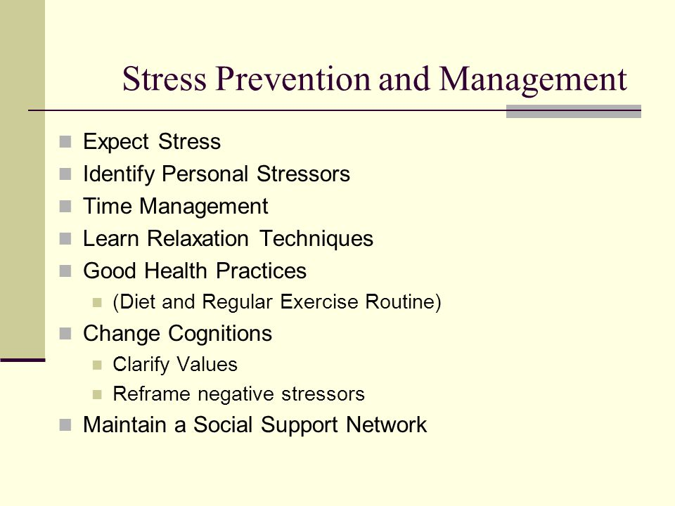 preventive stress management methods Stress management how to reduce, prevent, and cope with stress  if your methods of coping with stress aren't contributing to your greater emotional and physical health, it's time to find healthier ones  physical activity plays a key role in reducing and preventing the effects of stress make time for at least 30 minutes of exercise.