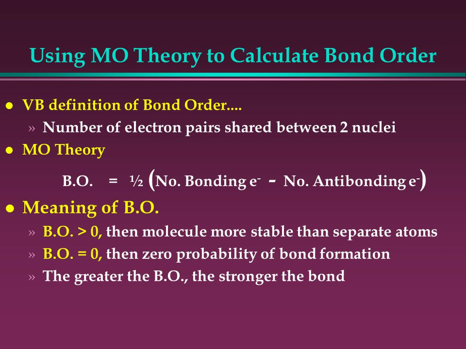 how to calculate bond order of o2