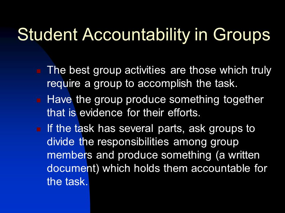 Student Accountability in Groups