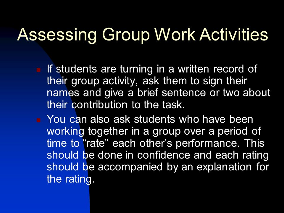 Assessing Group Work Activities