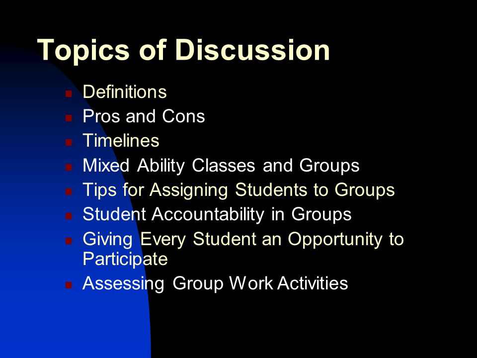 Topics of Discussion Definitions Pros and Cons Timelines