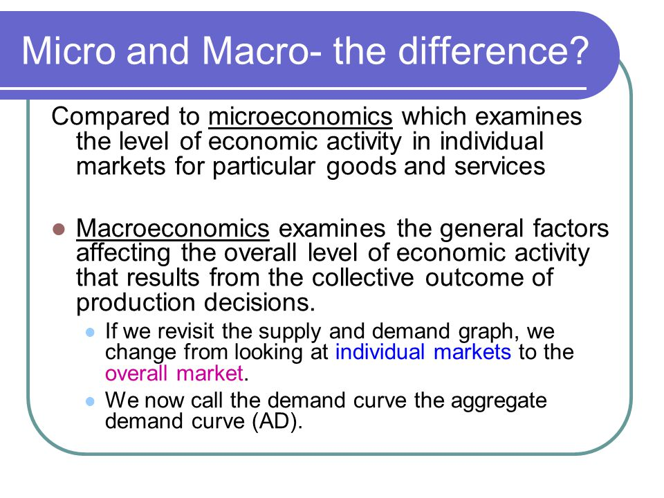 the macro economic implications of micro economic market These microeconomic conditions will have the most direct effect on your small business make your business decisions based on rising and falling expectations for your customers you can survive a downturn if you tailor your marketing efforts to lowered expectations while simultaneously cutting back on expenses.