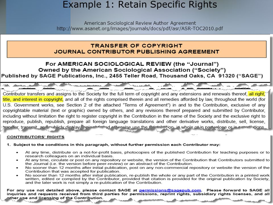 Associate director law library ppt download 10 example 1 retain specific rights american sociological review author agreement platinumwayz
