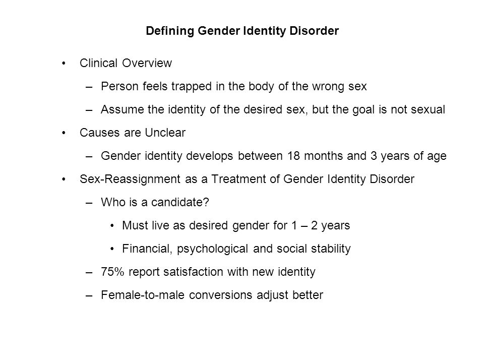 sexual and gender identity disorder 14 unique gender identity disorder statistics gender identity disorder, also known as gender dysphoria, is a condition describing the conflict between a person's physical gender and gender they identify as.