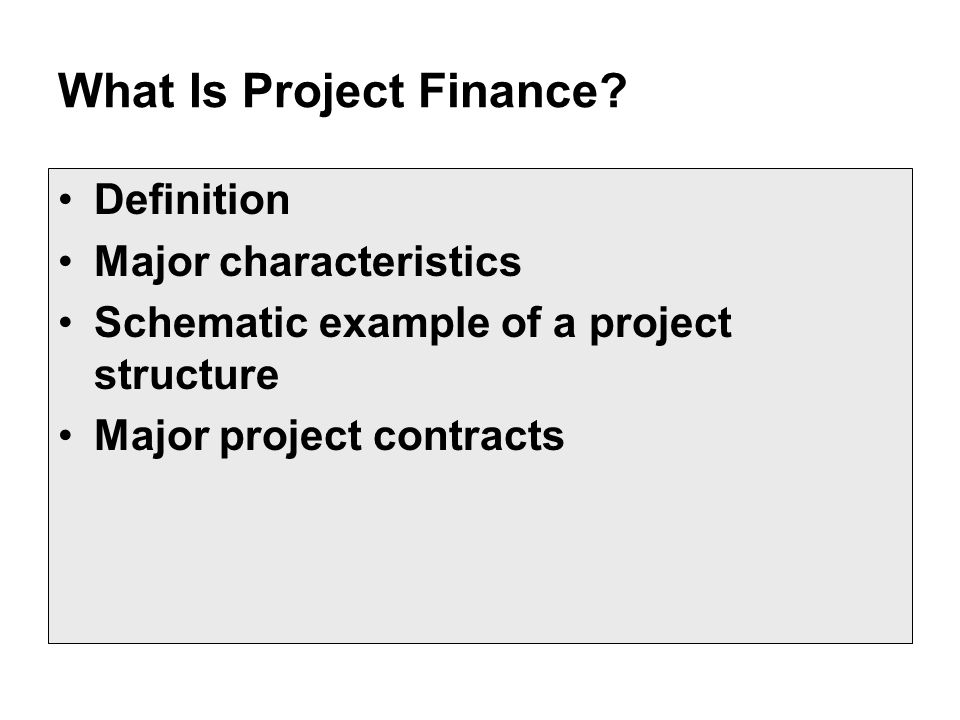 characteristics of project finance pdf