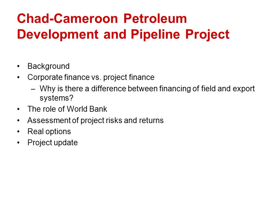 the chad cameroon petroleum development and pipeline Chad-cameroon petroleum development and pipeline project (a), spanish version menu suggested topics subscribe hi, guest sign in register items added to cart.
