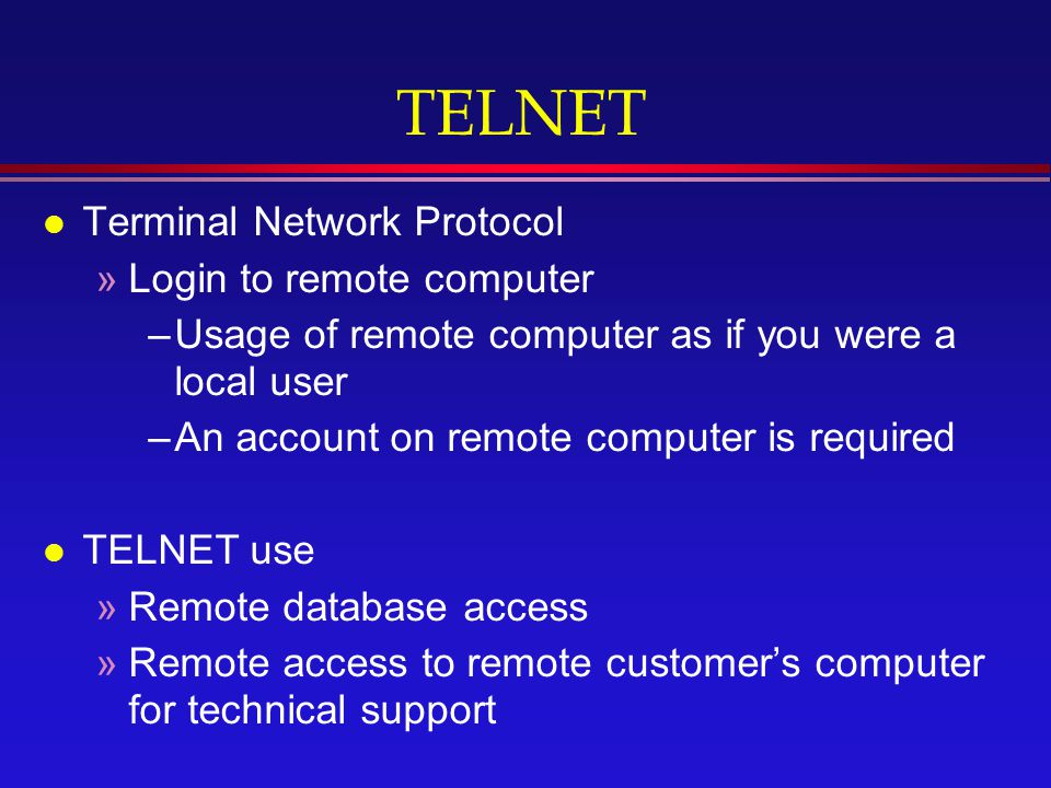 how to connect to another computer using telnet