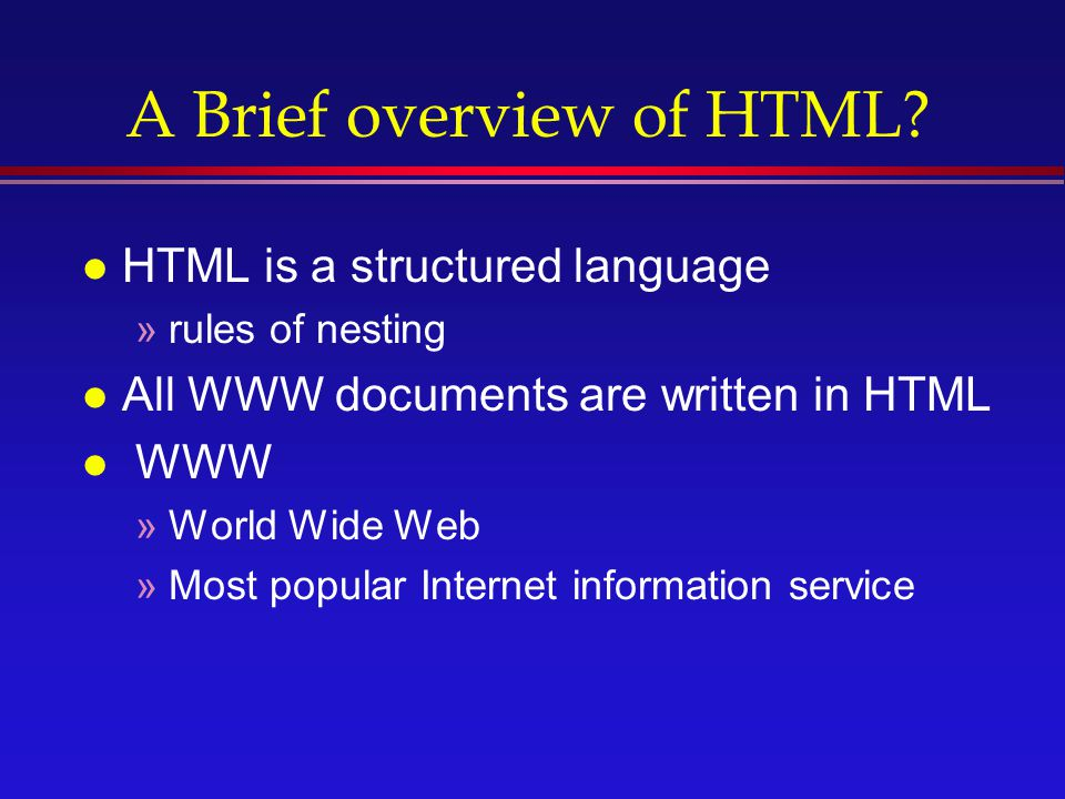 an overview of html language Open vulnerability and assessment language (oval®) is a community effort to standardize how to assess and report upon the.