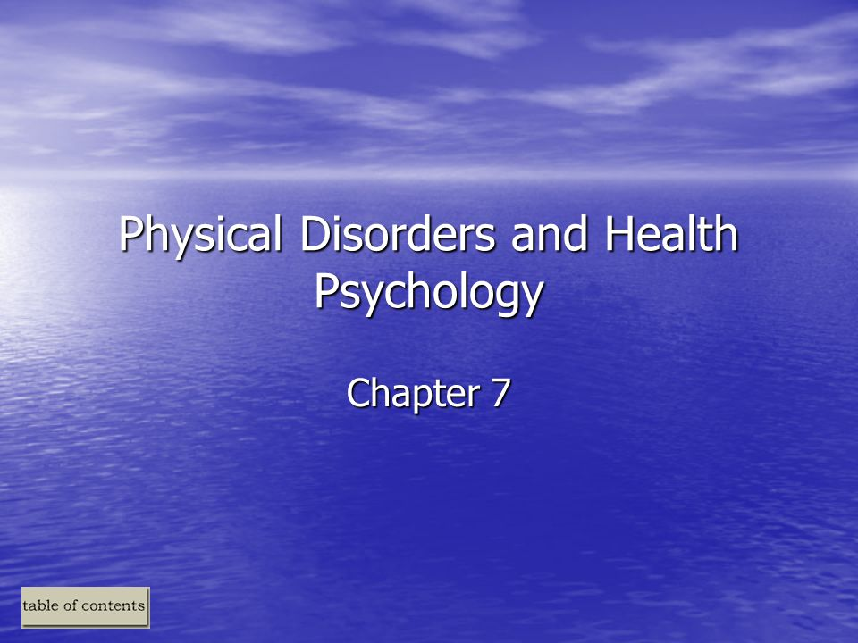 physical disorders and health psychology A physical disorder (as a medical term) is often used as a term in contrast to a mental disorder, in an attempt to differentiate medical disorders which have an available objective mechanical test (such as chemical tests or brain scans), from those disorders which have no objective laboratory or imaging test, and are diagnosed only by.