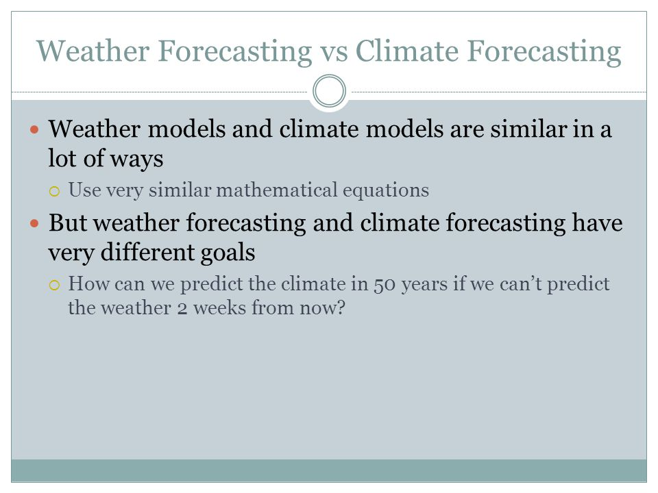 use of computer in weather forecasting In the period from 1955 (when computers were first used in weather forecasting) to the current time, the percent skill of forecasts has improved from about 30% to more than 60% the percent skill measure was invented to describe the likelihood that a weather forecast will be better than pure chance.