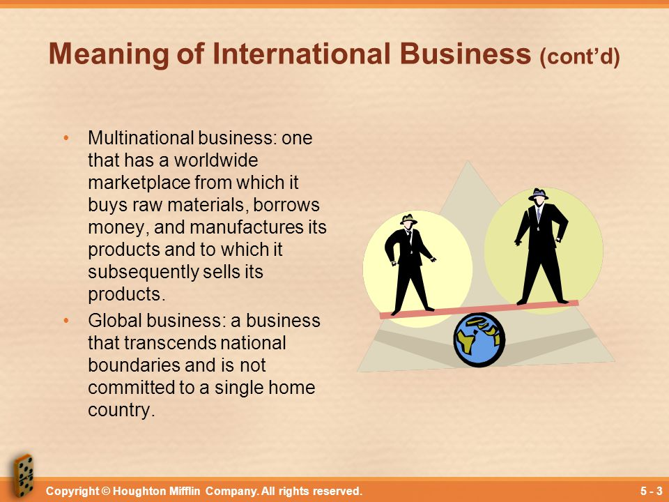 Meaning of International Business (cont'd)