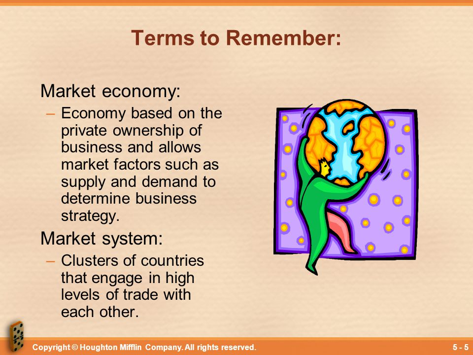 Terms to Remember: Market economy: Market system: