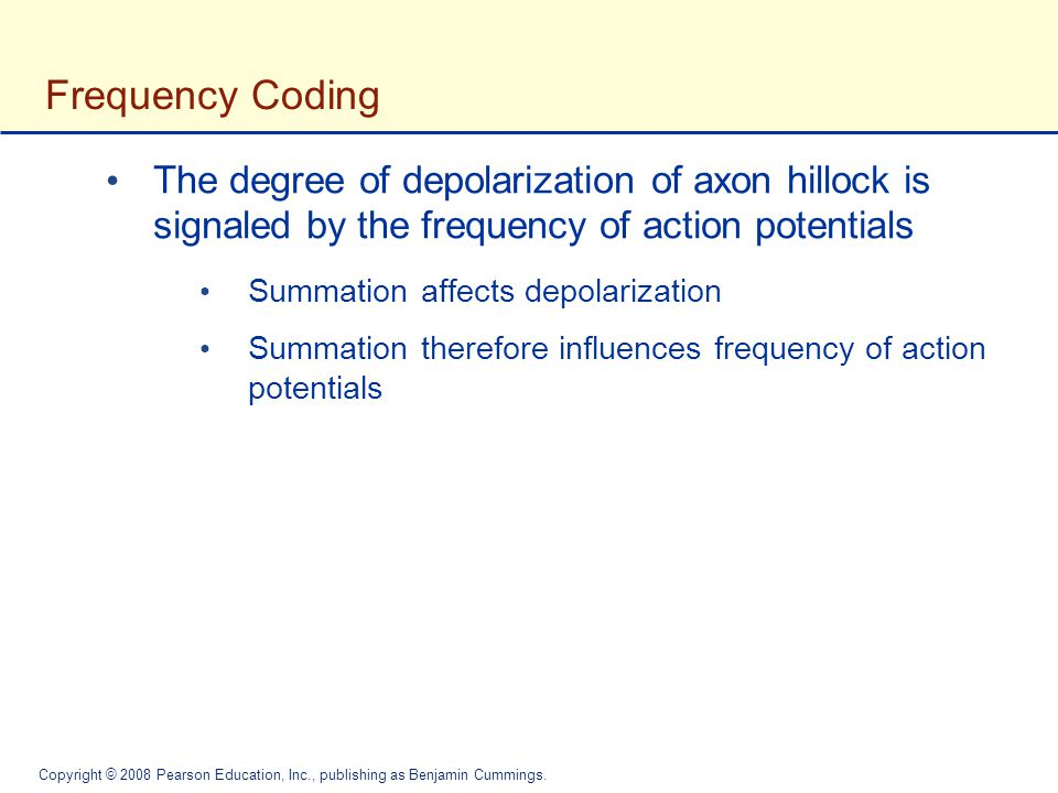 Frequency Coding The degree of depolarization of axon hillock is signaled by the frequency of action potentials.