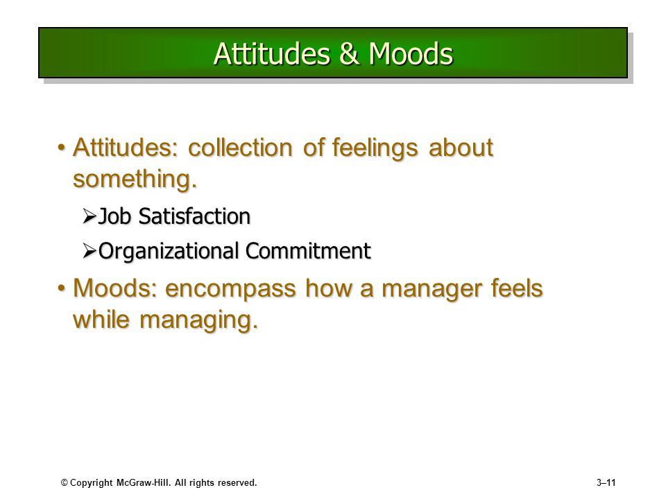 Attitudes & Moods Attitudes: collection of feelings about something.