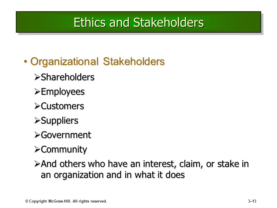 Ethics and Stakeholders