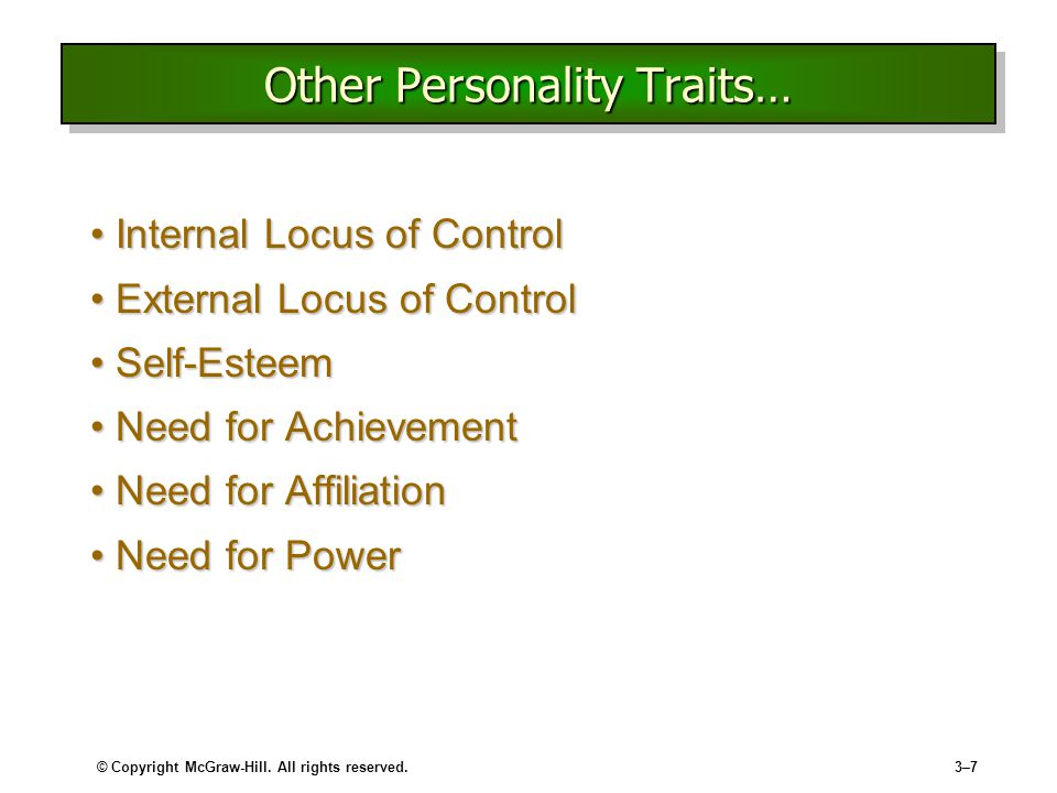 Other Personality Traits…