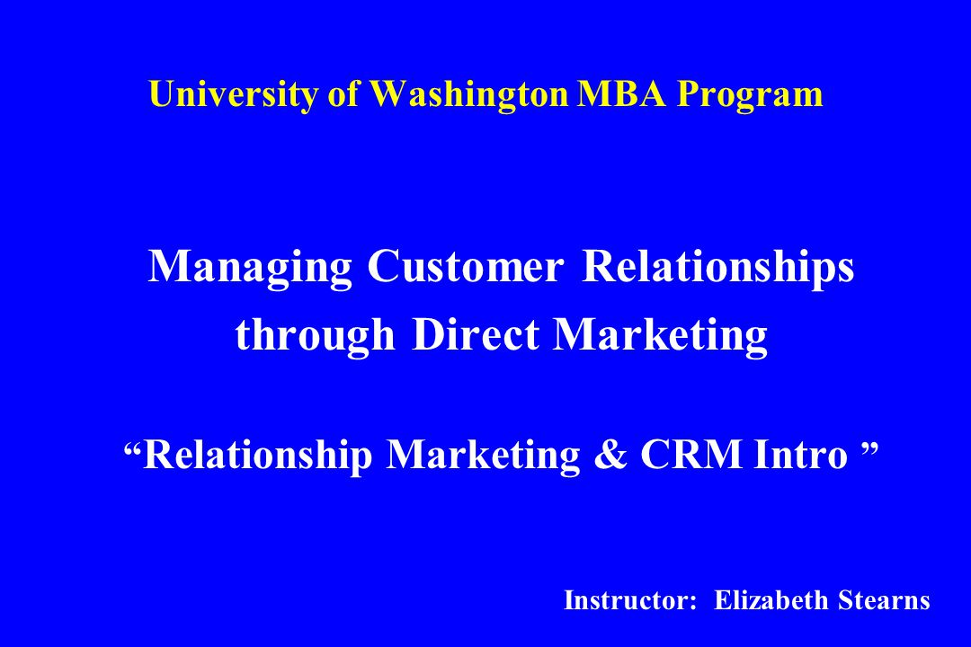 1 to relationship marketing program