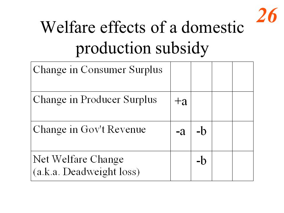Welfare effects of a domestic production subsidy
