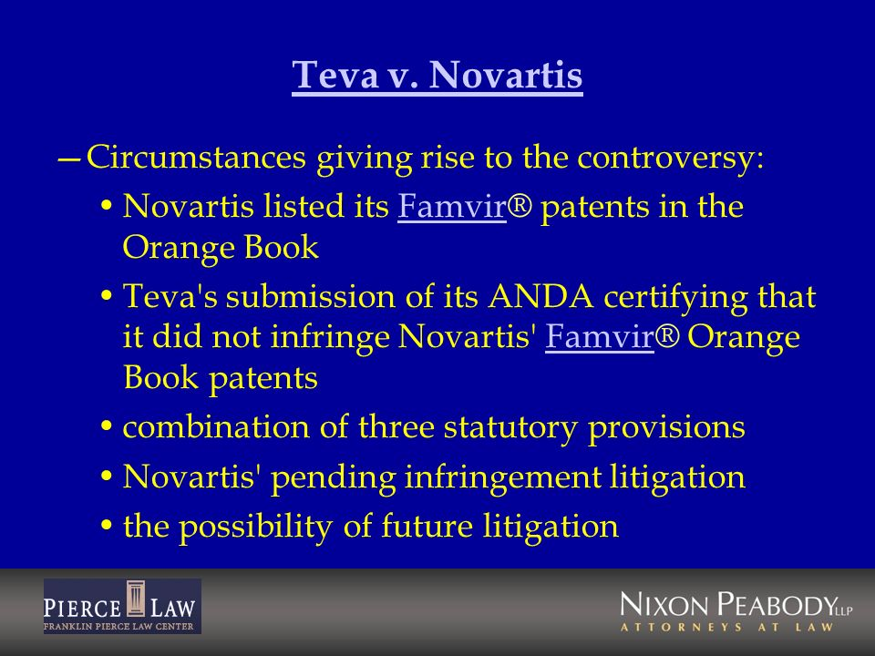 Teva v. Novartis Circumstances giving rise to the controversy: